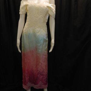 Dip Dyed Vintage Off Shoulder Wedding Dress